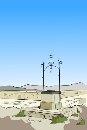 fable: ancient spanish well - vector illustration Illustration