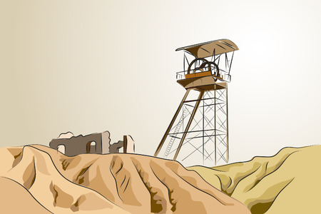 abandonado: Abandoned mine with tower and ruins - Vector illustration