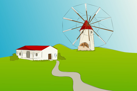 Spanish windmill with typical house of La Mancha - Vector illustration Stock Vector - 4030469