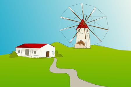 Molino de viento típico español con la casa de La Mancha - ilustración vectorial