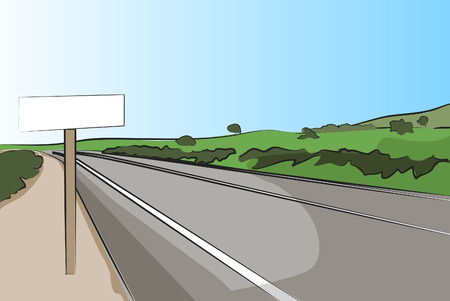 country road: Country road with signal, mountains in the background - vector illustration