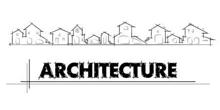 chalet: architecture - construction company. Project card Template - Vector illustration