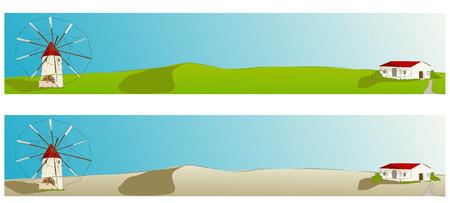 Español molino de viento con casa típica de La Mancha - Ilustración del vector - web bandera