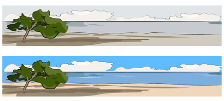 mediterraneo: Seascape - Mediterraneo with alone tree web banner vector illustration