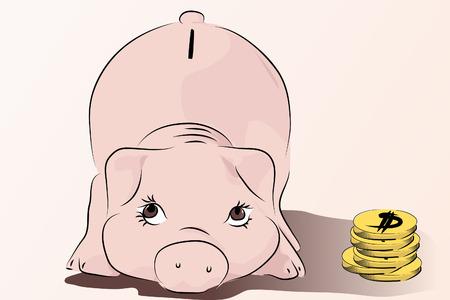 cuenta bancaria: Piggy - Guarde su dinero - rosa cerdo ilustraci�n vectorial, al estilo de dibujos animados
