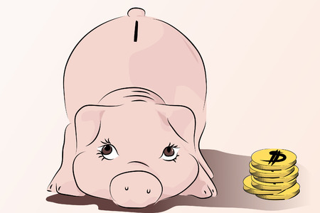 account: Piggy - Save your money - pink pig vector illustration, cartoon style