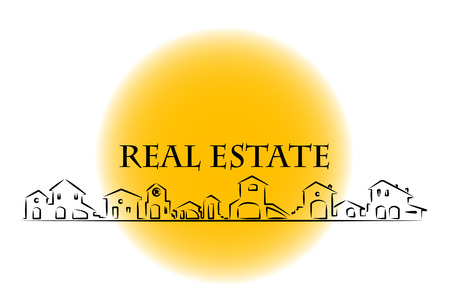 property investment: Real estate business card with houses silhouette
