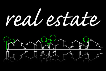 real residential: Real estate business card with houses and trees silhouette