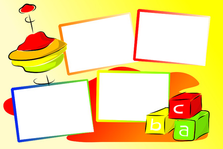 Toys illustration - Cubes and top - Kids illustration style - Scrapbook useful with photos frames Vector