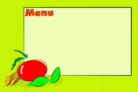 basil: Restaurant menu, italian food with tomato, basil and pasta illustration Illustration