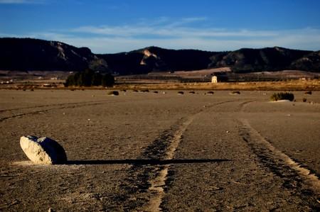 Dry salt lake - desert landscape, trace of tyres detail - Laguna de Salinas (Spain) Stock Photo - 4096184
