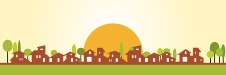 Little village silhouette - Warm colors Vector
