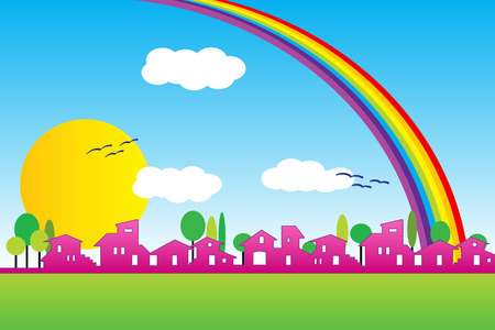 Little village silhouette with rainbow and clouds