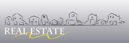 Onroerend goed visitekaartje met huizen silhouet - web banner nuttig Vector Illustratie