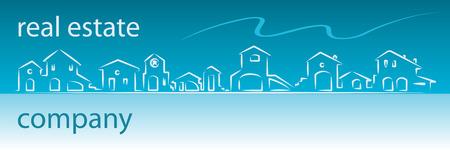 housing estates: Immobile biglietto da visita con case silhouette - banner web utili