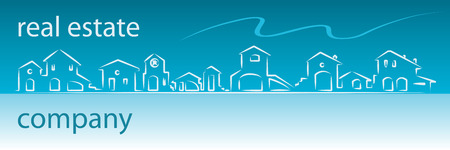 Real estate business card with houses silhouette - web banner useful Vectores