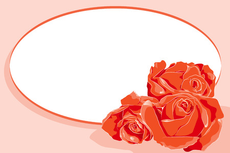 Valentine Card with red roses and message frame - Scrapbook useful Vector