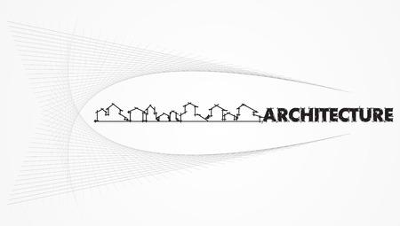 housing project: arquitectura - empresa de construcci�n. Proyecto de modelo de tarjeta - Vector illustration