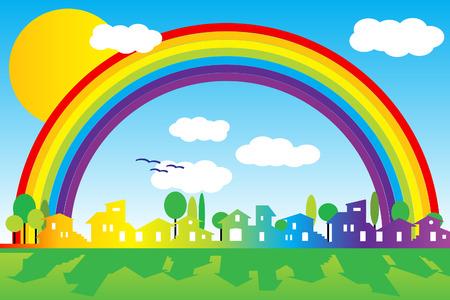 Piccolo villaggio con silhouette arcobaleno, il sole e le nuvole