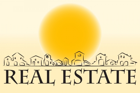 real estate: Real estate business card with houses silhouette