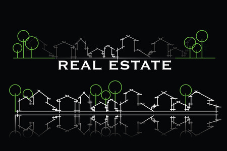 real estate investment: Real estate business card with houses and trees silhouette