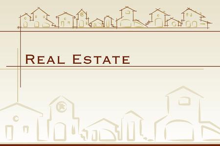 housing project: Tarjeta de negocios de bienes ra�ces. Proyecto de plantilla de la tarjeta de estilo cl�sico - ilustraci�n vectorial