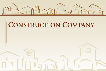 housing plan: architecture - construction company. Project card Template classic style - Vector illustration