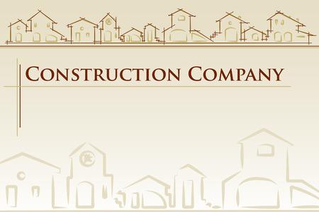 housing project: arquitectura - empresa de construcci�n. Proyecto de plantilla de la tarjeta de estilo cl�sico - ilustraci�n vectorial