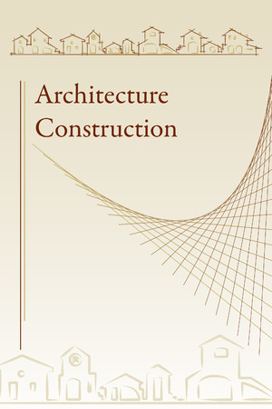 architect drawing: architecture - construction company. Brochure Template classic style - Vector illustration