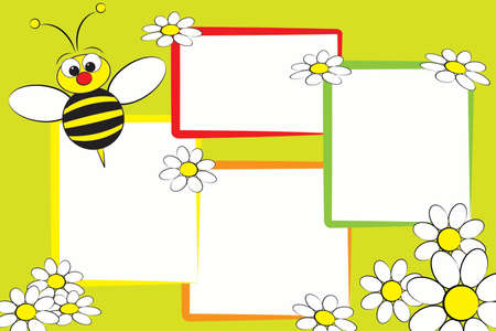 Kid scrapbook with a bee and white daisies - Photo frames for children 免版税图像 - 113566756