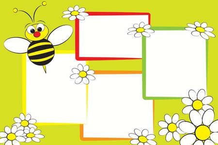 Libro de recuerdos para niños con una abeja y margaritas blancas - Marcos de fotos para niños