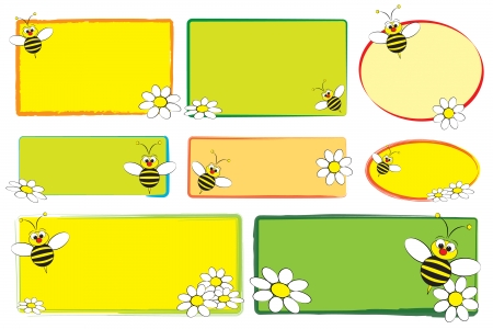 stick bug: Kid labels with a bee and white daisies - labels for children