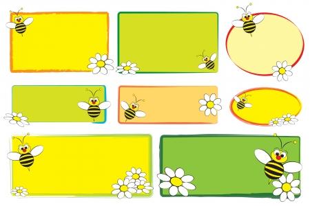kid vector: Ni�o con una abeja etiquetas en blanco y margaritas - las etiquetas de los ni�os