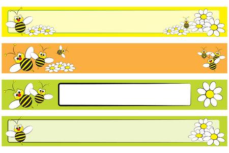 margriet: Web-banner met een honingbij en witte margrieten voor kinderen - Label nuttig