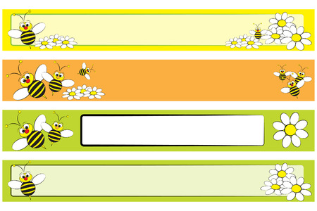 bee garden: Web banner set with a bee and white daisies for children - Label useful Illustration