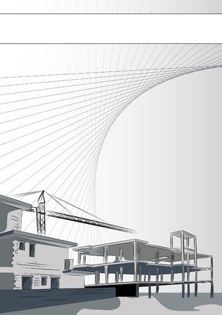 construct: Brochure voor de architectuur of de constructie bedrijf. Sjabloon, editeerbare Vector illustration Stock Illustratie
