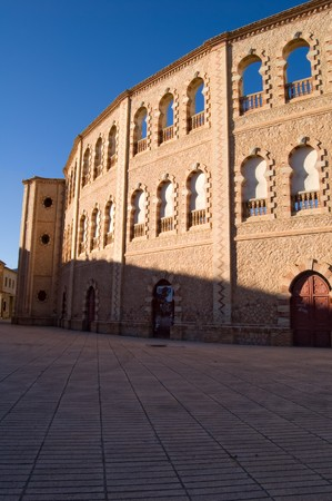 amphitheatre: Spanish arena, architecture detail, arabic style - Plaza de toros, Caudete (Spain) Stock Photo