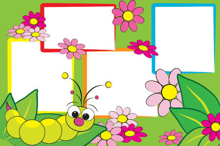 Kid scrapbook with a grub and flowers - Photo frames for children Vectores