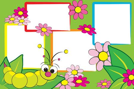 bruchi: Kid scrapbook con grub e fiori - Photo frame per i bambini