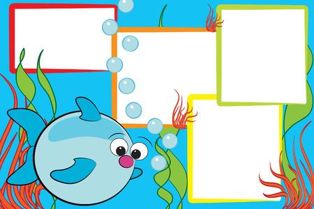 bunter fisch: Kid G�stebuch mit einem Fisch Ende Luftblasen - Bilderrahmen f�r Kinder Illustration