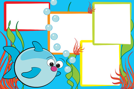 colorful fishes: Kid scrapbook with a fish end air bubbles - Photo frames for children