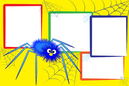 Kid scrapbook with a spider and spiderweb - Photo frames for children Vector