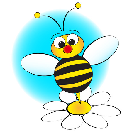 bee garden: Bee and daisy - Card for kids - Scrapbook and labels useful Illustration