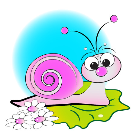 Snail, flowers and green leaf - Card for kids - Scrapbook and labels useful Vectores