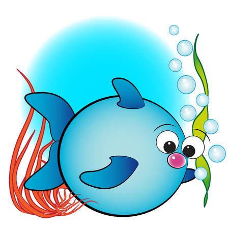 Fish, air bubbles and anemone - Card for kids - Scrapbook and labels useful Vector