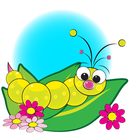 worm cartoon: Grub on leaves with flowers - Card for kids - Scrapbook and labels useful Illustration