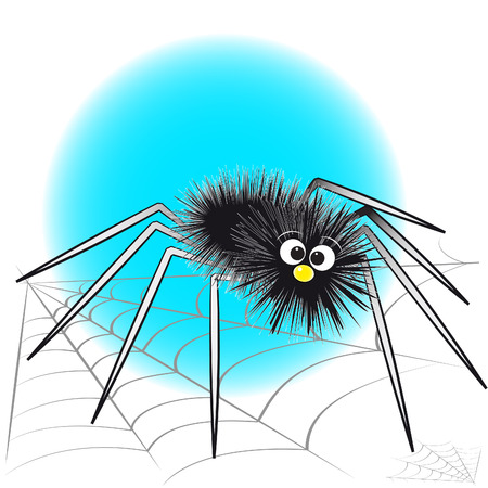 arachnophobia: Black spider and spiderweb - Card for kids - Scrapbook and labels useful Illustration