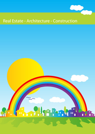 Brochure cover - Real estate, architecture, construction company - Houses silhouettes and rainbow Vector