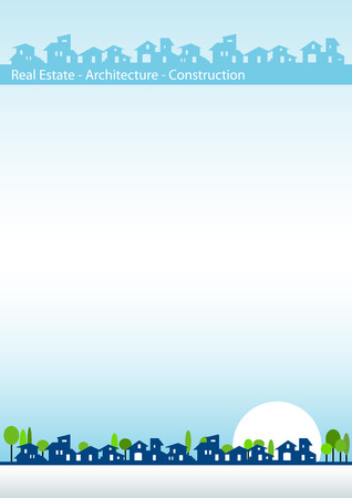 Brochure cover - Real estate, architecture, construction company - Houses silhouettes and cold colors Vector