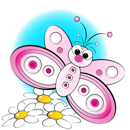 mariposa caricatura: Mariposas y flores - Tarjeta para los ni�os - bloc de notas y etiquetas �til Vectores